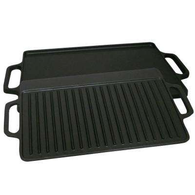 Pre-seasoned 28 in. Cast Iron 2 Sided Griddle