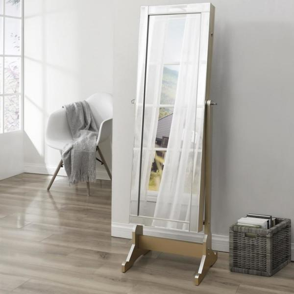 Inspired Home Adele Royal Champagne Cheval Floor Mirror Jewelry Armoire 57.5