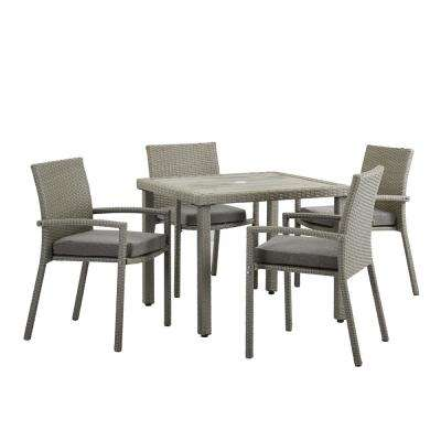 Positano Grey 5-Piece Wicker Outdoor Dining Set with Grey Cushions