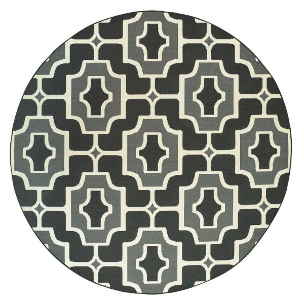 Sienna Geometric Black-Grey 7 ft. 10 in. x 7 ft. 10 in. Round Indoor/Outdoor Area Rug