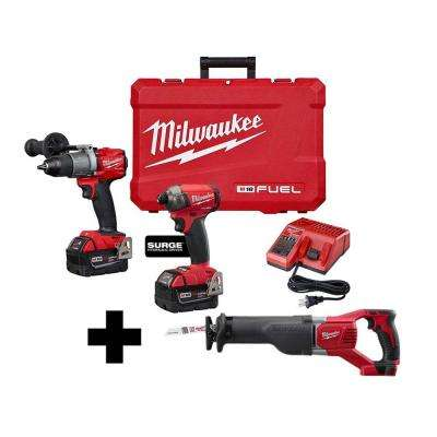 M18 FUEL 18-Volt Lithium-Ion Brushless Cordless Surge Impact and Hammer Drill Combo Kit with Free M18 Reciprocating Saw