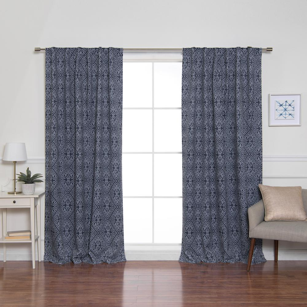 Best Home Fashion 84 in. L Diamond Confetti Blackout Curtains in Indigo (2-Pack)