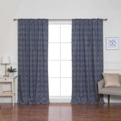 84 in. L Diamond Confetti Blackout Curtains in Indigo (2-Pack)