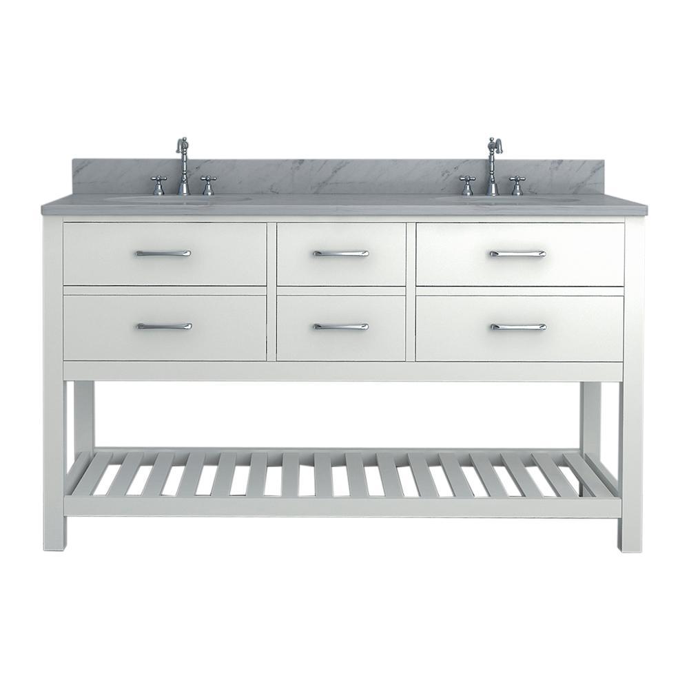 Rochester 61 in. W x 34 in. H Bath Vanity in White with Marble Vanity Top in White with White Basin