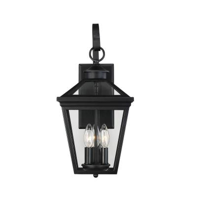 3-Light Black Outdoor Wall Lantern Sconce