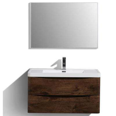 Smile 36 in. W x 20 in. D x 21 in. H Vanity in White with Acrylic Vanity Top in Rosewood with White Basin