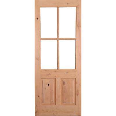 Fine 36 In X 96 In Rustic Knotty Alder 4 Lite Clear Glass 2 Panel Unfinished Wood Front Door Slab Download Free Architecture Designs Intelgarnamadebymaigaardcom