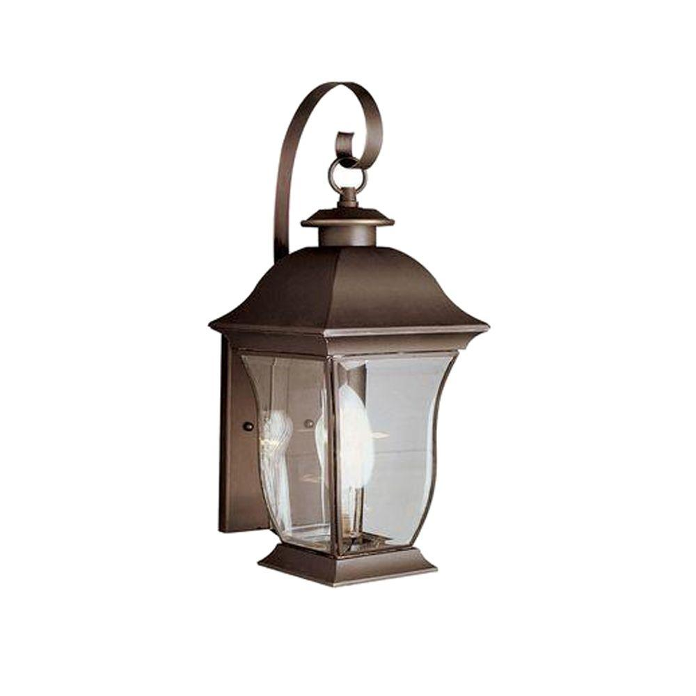 Bel Air Lighting Wall Flower 2-Light Outdoor Weathered Bronze Coach Lantern with Clear Glass