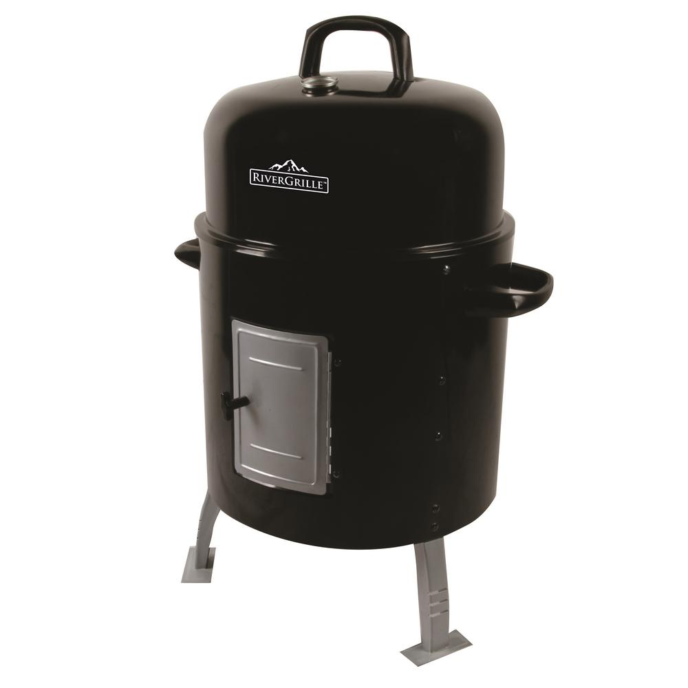 RiverGrille Silver Spur Water Smoker The Silver Spur Water Smoker has a total cooking area of 390 sq. in. and provides plenty of space to either smoke or grill. Quality porcelain coated bowls and cooking grates are easy to clean and maintain. The large front access door allows quick and easy refilling of both charcoal and water. Deep domed lid with adjustable air vent to control temperature and smoke.