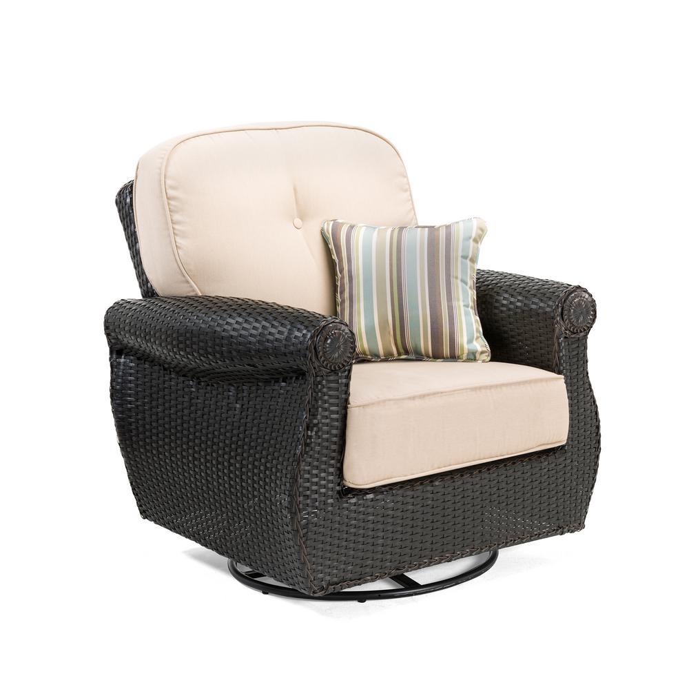 Breckenridge Swivel Wicker Outdoor Lounge Chair with Sunbrella Spectrum Sand Cushion