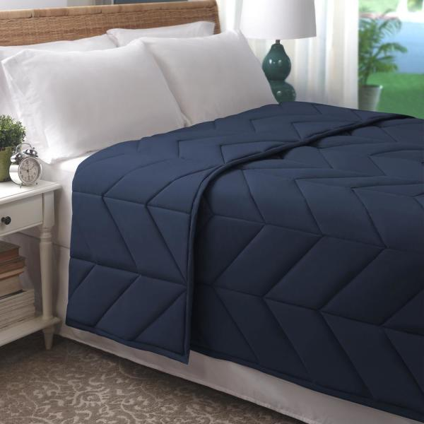 Navy Cotton Chevron Quilted Full/Queen Blanket BL001372_F_Q-NA