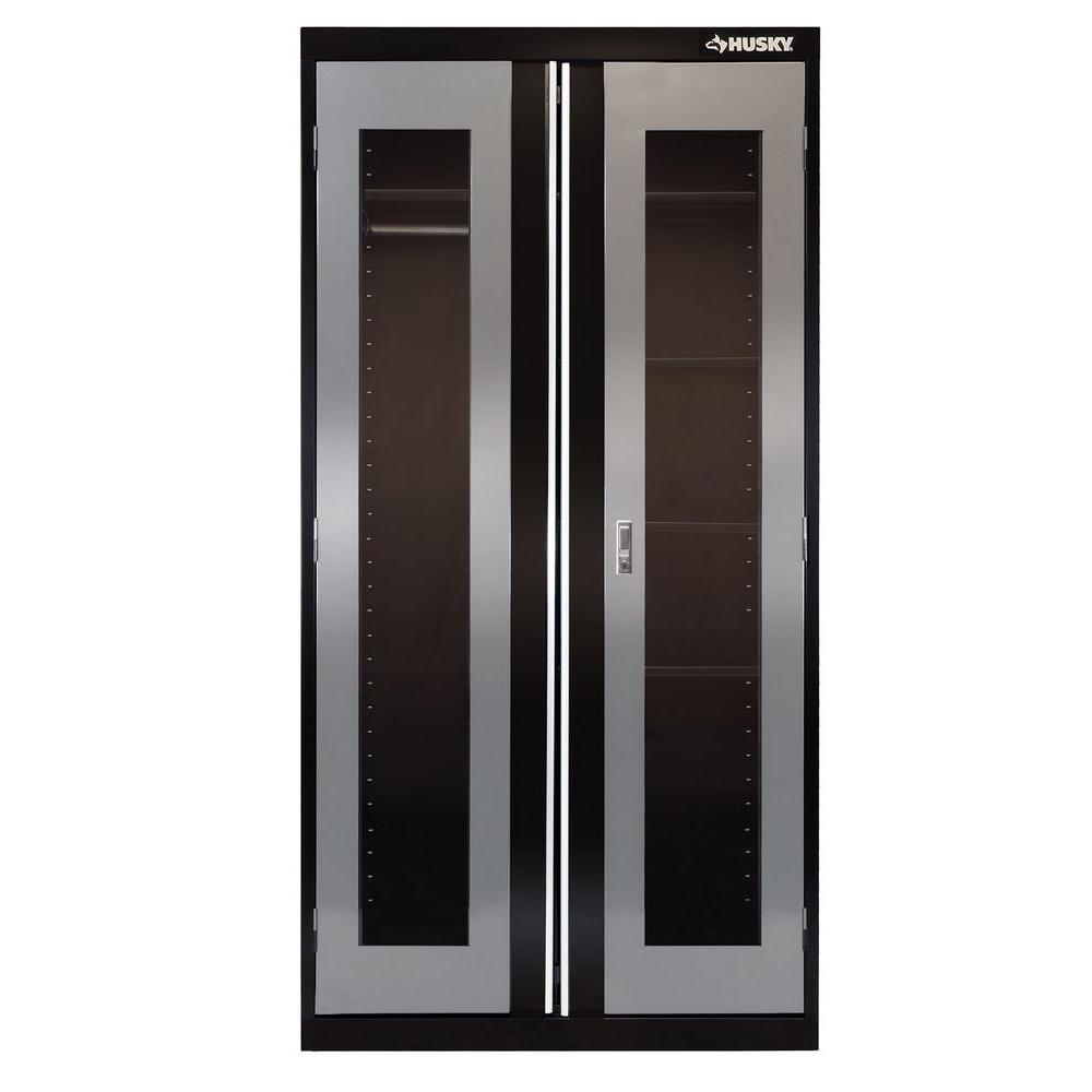 Husky 72 in. H x 36 in. W x 18 in. D 5 Shelf Welded Steel Combination Cabinet in Black/Gray