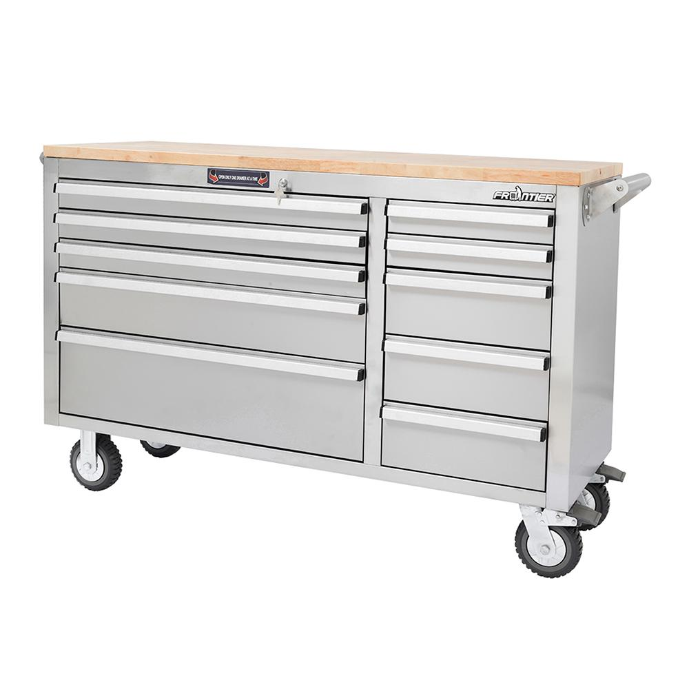 56 in. 10-Drawer Mobile Workbench Tool Chest Cabinet with Wooden Top