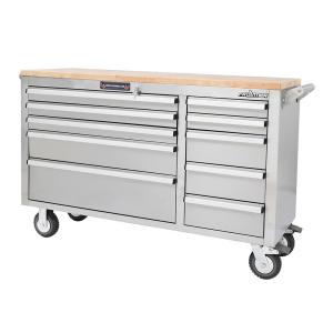 Frontier 56 inch 10-Drawer Mobile Work Bench Tool Chest Cabinet with Wooden Top in Stainless Steel by Frontier