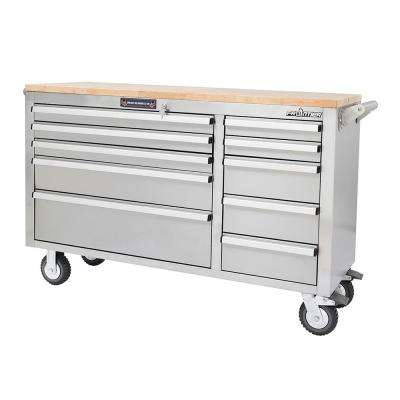 56 in. 10-Drawer Mobile Workbench Tool Chest Cabinet with Wooden Top in Stainless Steel