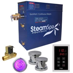 SteamSpa Indulgence 10.5kW QuickStart Steam Bath Generator Package with Built-In Auto Drain in Polished Chrome by SteamSpa