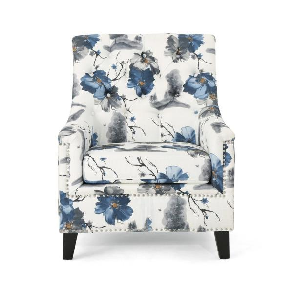 Jaclyn Tufted Multi-Colored Floral Fabric Club Chair with Stud Accents