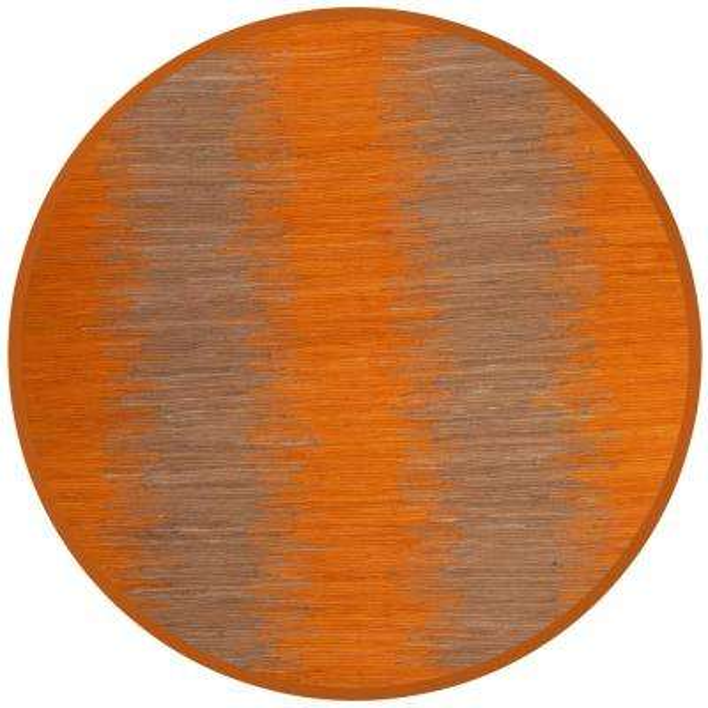Montauk Orange 6 Ft X Round Area Rug Gold Navy Ivory Gray