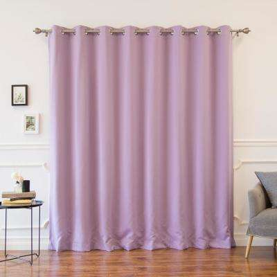 Wide Width Basic Silver 100 in. W x 84 in. L Grommet Blackout Curtain in Lavender