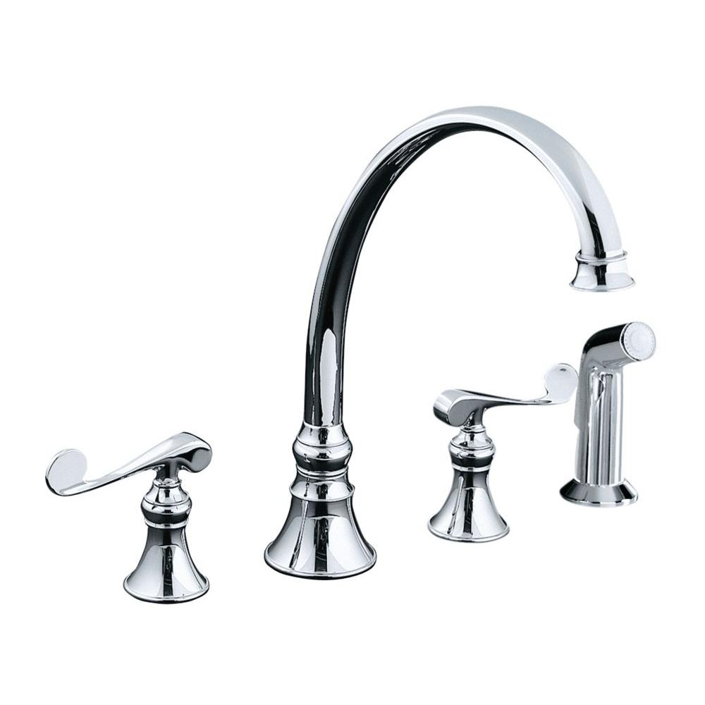 2 handle kitchen faucet kohler revival 2 handle standard kitchen faucet in polished chrome k 16109 4 cp the home depot 3472