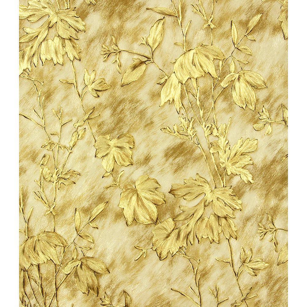 Brewster 57.8 sq. ft. Portofino Gold Cow Leaves Wallpaper 2871-88742