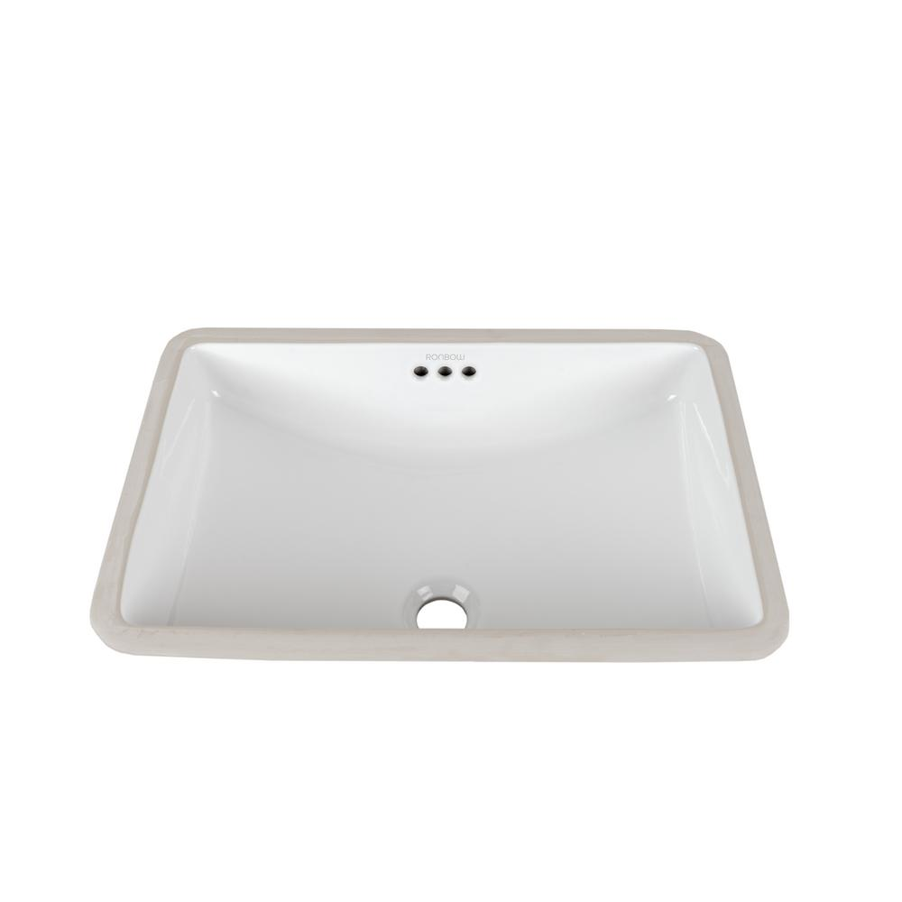 Ronbow Essentials Rectangular Undercounter Ceramic Vessel Sink In  White 200532 WH   The Home Depot