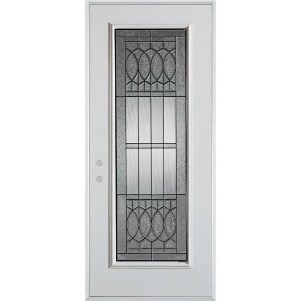 32 in. x 80 in. Nightingale Patina Full Lite Painted White Right-Hand Inswing Steel Prehung Front Door