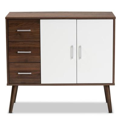 Leena Walnut Brown and White Sidebord with 3-Drawer