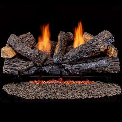 Split Red Oak 30 in. Vent-Free Gas Fireplace Logs With Thermostat
