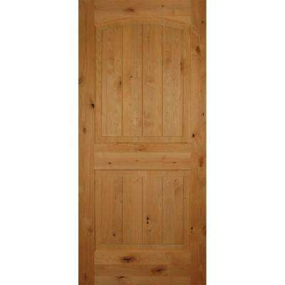 2-Panel Arch Top V-Grooved Solid Core Knotty Alder Single Prehung Interior Door