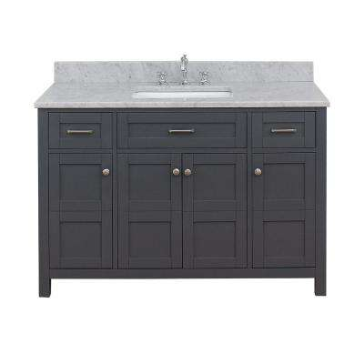 Vancouver 49 in. W x 34 in. H Bath Vanity in Gray with Marble Vanity Top in White with White Basin