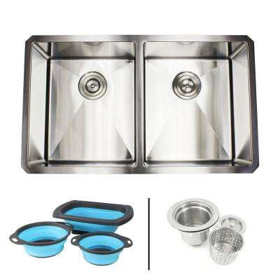 Undermount 16-Gauge Stainless Steel 32 in. x 19 in. x 10 in. 50/50 Double Bowl Kitchen Sink Combo