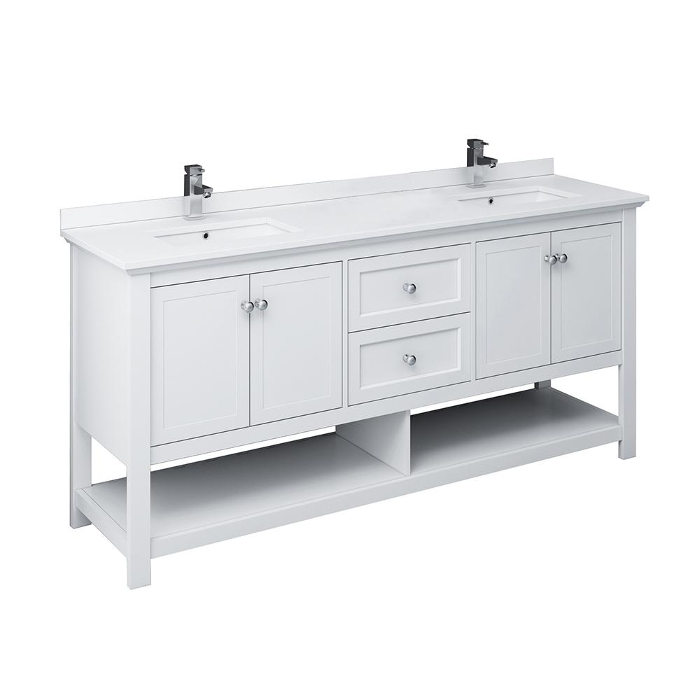 Fresca Manchester 72 in. W Bathroom Double Bowl Vanity in White with Ceramic Vanity Top in White with White Basins