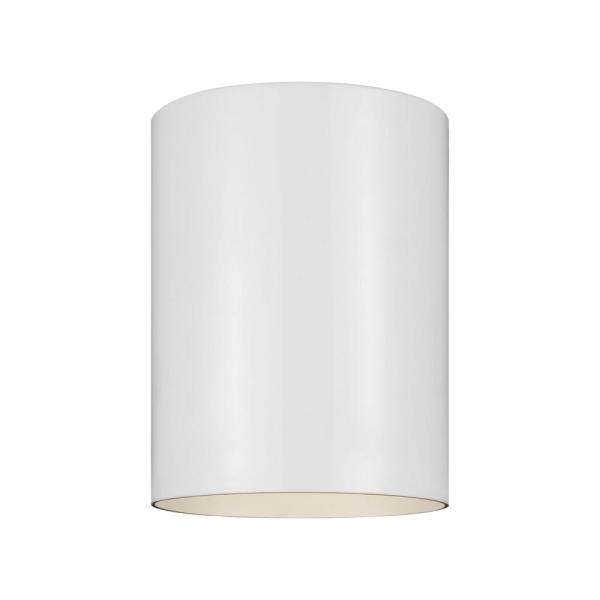 Outdoor Cylinders 6.625 in. White Integrated LED Outdoor Ceiling Flushmount