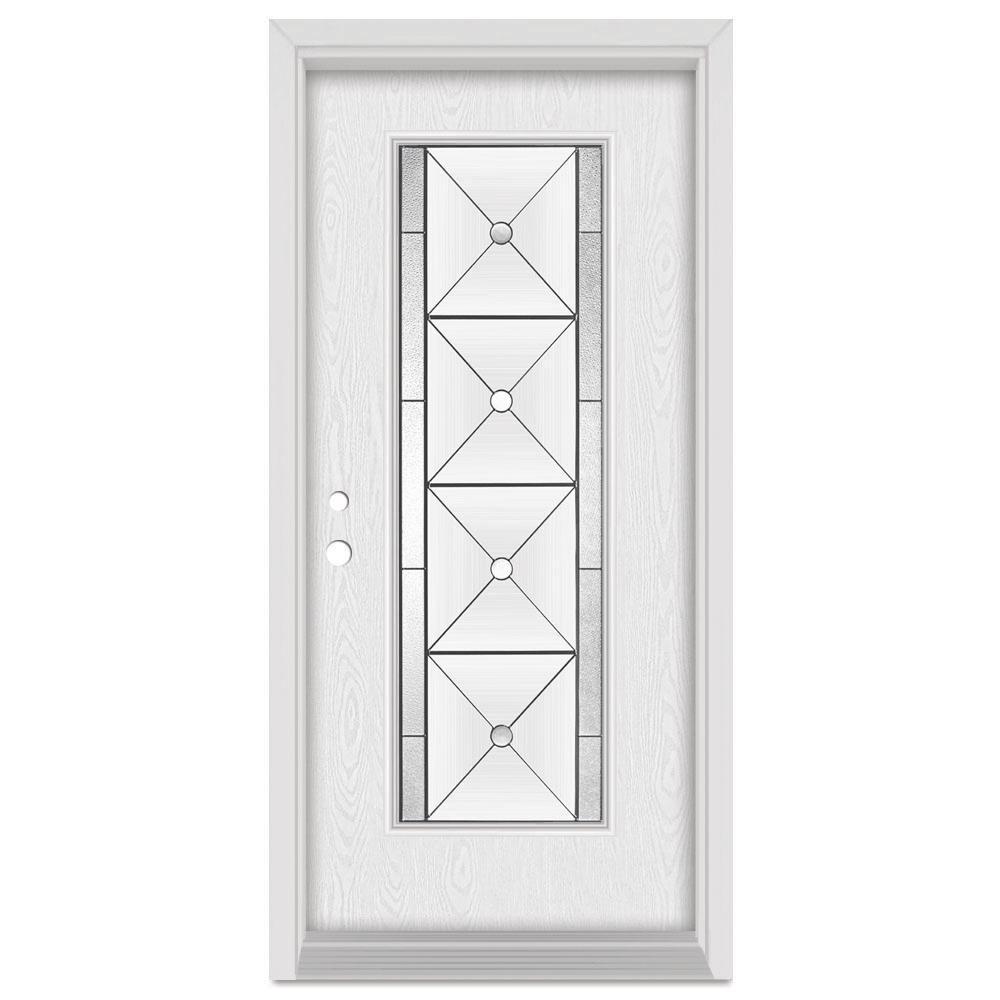 33.375 in. x 83 in. Bellochio Right-Hand Patina Finished Fiberglass Oak Woodgrain Prehung Front Door Brickmould