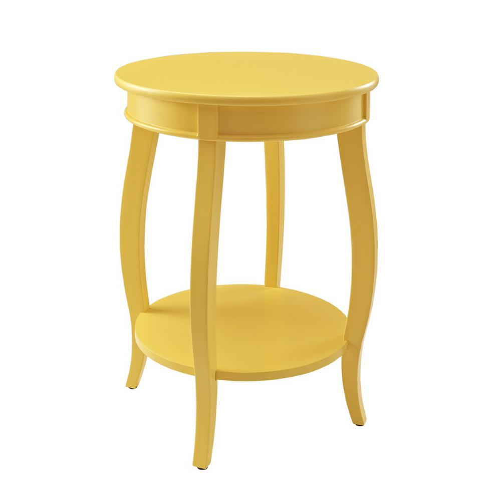 Powell Yellow Round Table With Shelf
