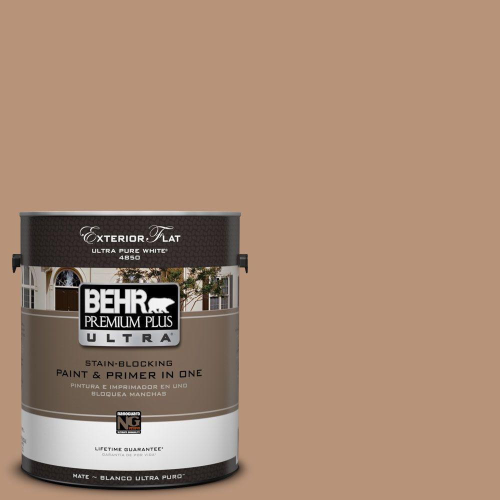 BEHR Premium Plus Ultra 1-Gal. #UL130-6 Spice Cake Flat Exterior Paint