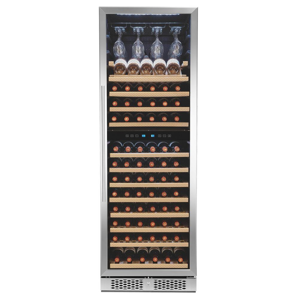 AKDY 69 in. 121-Bottle Freestanding Compressor Wine Cooler in Stainless Steel with Touch Panel