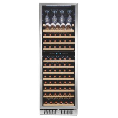 69 in. 121-Bottle Freestanding Compressor Wine Cooler in Stainless Steel with Touch Panel