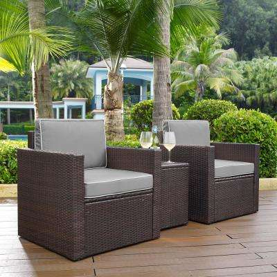 Palm Harbor 3-Piece Outdoor Wicker Conversation Set with Grey Cushions 2 Arm Chairs and Side Table