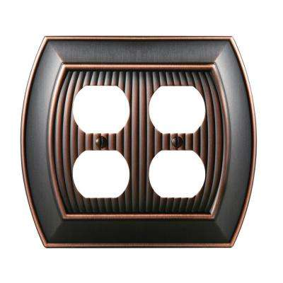 Sea Grass 2-Duplex Outlet Wall Plate, Oil-Rubbed Bronze