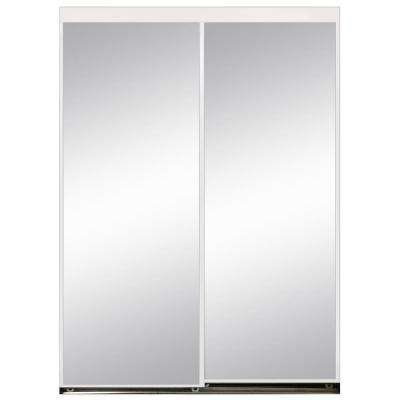 96 in. x 80 in. Polished Edge Mirror Gasket Framed Aluminum Interior Closet Sliding Door with White Trim