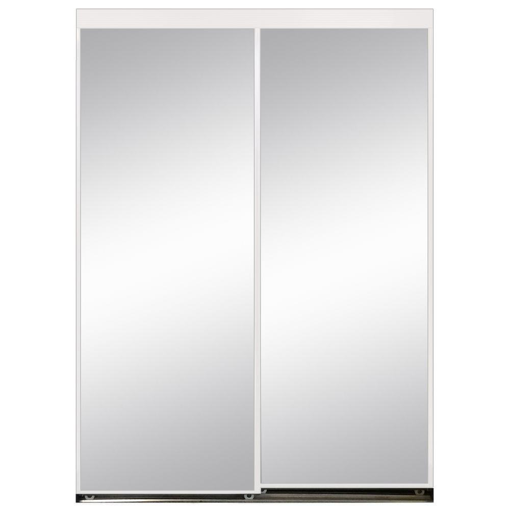 High Quality Polished Edge Mirror Gasket Framed Aluminum Interior Closet Sliding Door  With White Trim S297080W   The Home Depot