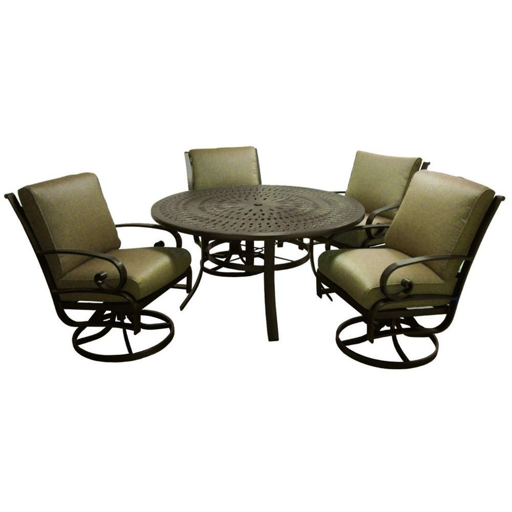 Tradewinds Valle Vista 5-Piece Linen Sesame and Java Patio Dining Set-DISCONTINUED