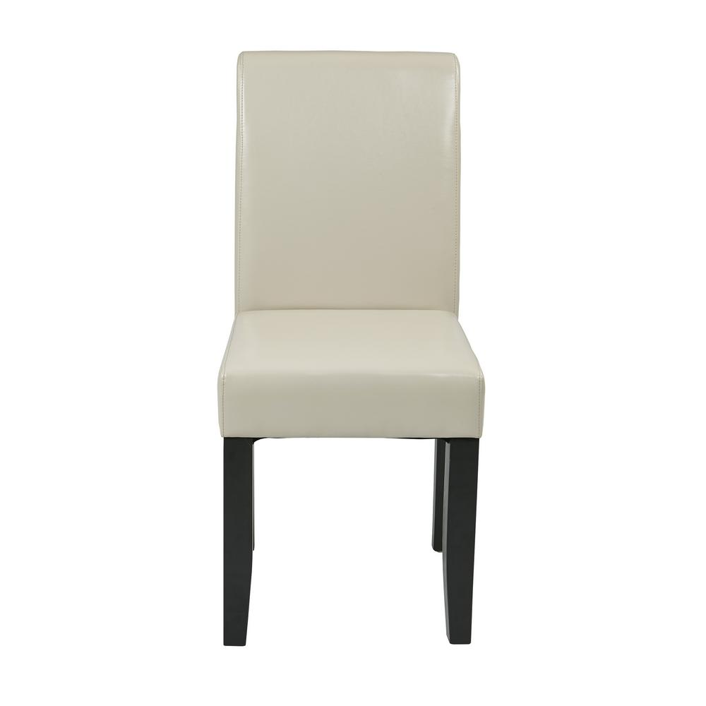OSP Home Furnishings Cream (Ivory) Eco Leather Parsons Dining Chair Parsons Dining Chair attractive design compliments most any home decor. Upholstered in Cream eco Leather. Solid wood legs in Dark Espresso finish. Easy assembly.