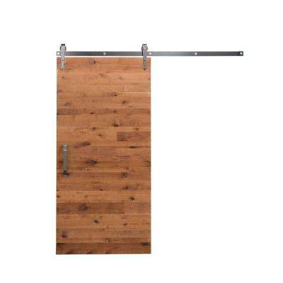 36 in. x 84 in. Rustica Reclaimed Clear Wood Barn Door with Arrow Sliding Door Hardware Kit