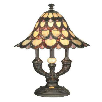 19 in. Peacock Antique Bronze Table Lamp