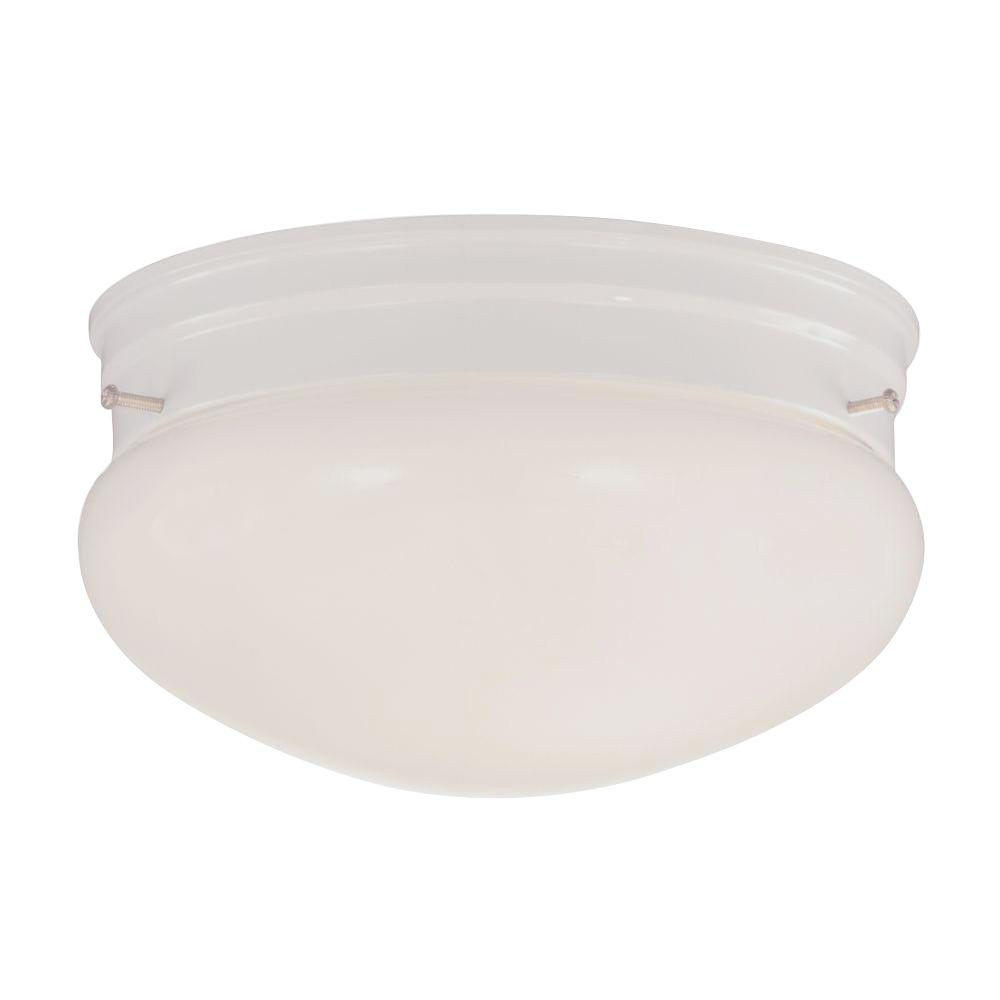 2-Light White Flush Mount with Opal Glass Shade