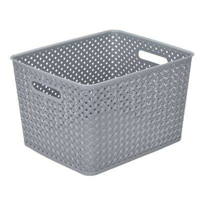 13.75 in. x 11.50 in. x 8.75 in. Large Resin Wicker Storage Bin in Grey