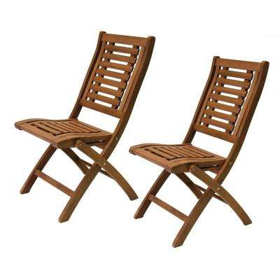 Folding Eucalyptus Outdoor Dining Chair (2-Pack)